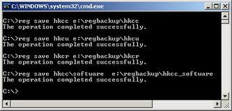 Backup از ریجستری با استفاده از دستور reg save