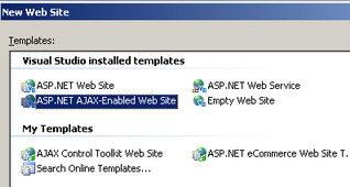 انتخاب تمپليت ASP.NET AJAX-Enabled Web Site
