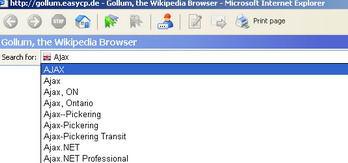 عملکرد برنامه Gollum با هدف جستجو در Wikipedia